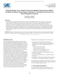 pdf optimal design of an interior permanent magnet synchronous motor for wide constant power region operation considering thermal and electromagnetic