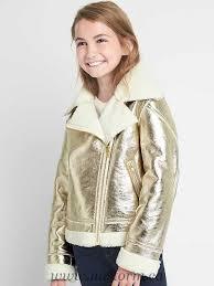 cozy faux leather biker jacket girls outerwear metallics 1330114017
