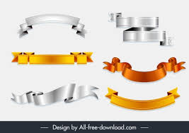 Luxury Ribbons Templates Modern Shiny Colored 3d Shapes