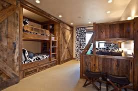 sliding barn doors. bunk beds and sliding barn doors in the rustic bedroom design mhr
