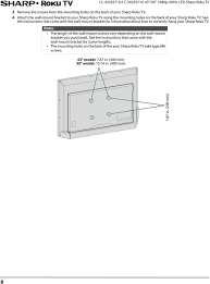 see the instructions that came with the wall mount bracket for information about how to 14 tv components your sharp