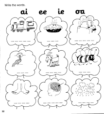 Kindergarten phonics worksheets for learning syllables. Jolly Phonics Workbook 4 Ai J Oa Ie Ee Or