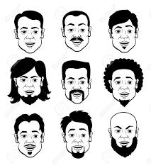 さまざまなヘアスタイル 黒と白のイラストのセットを持つ男の顔を漫画