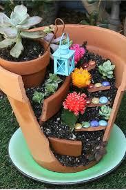 fairy gardens. Broken Pot Fairy Garden Gardens