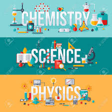Chemistry Science Physics Words With Flat Scientific Icons