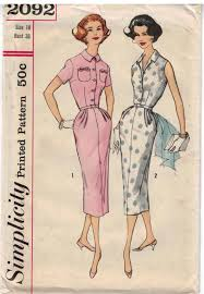 Simplicity Pattern Size Chart Simplicity Pattern 2092 Vintage Misses One Piece Sheath Dresses In Two Views Size 16