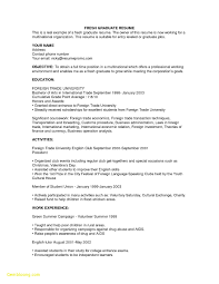 Example Resume For Fresh Graduates With No Experience Best Resume No