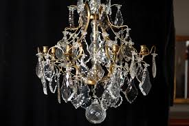 antique 19th century six light cut crystal and glass chandelier
