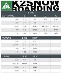 K2 Womens Snowboard Size Chart 54 Paradigmatic Womens Ski Boot Conversion Chart
