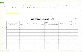 Wedding Guest List Template Example Planners Spreadsheet