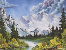 small selection of bob ross paintings