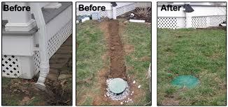 underground gutter drainage. Underground Downspouts Installations Ny Evolution Stamped Concrete Gutter Downspout Drainage