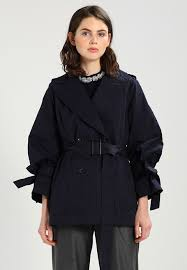 banana republic drama sleeve trenchcoat preppy navy women s side pockets coats on 100 cotton 3qwbypbw prevnext