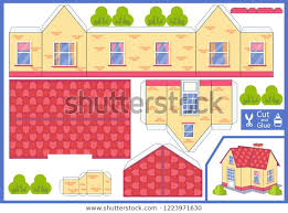 3d House Cut Glue Paper House Royalty Free Stock Image