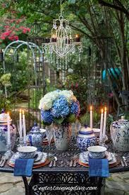blue and white outdoor dinner party