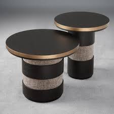 italian black oak designer round side table