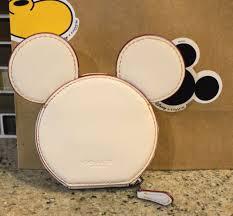 coach 59071 disney x mickey mouse leather ears ear coin case purse chalk clutch