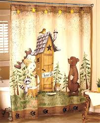 black bear shower curtain bear curtains nature calls outhouse bear moose rustic cabin lodge bathroom shower