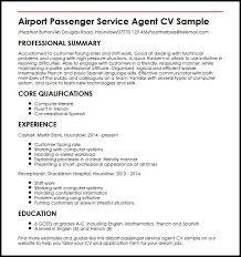Cv Template For Care Assistant Airport Passenger Service Agent Cv Sample Myperfectcv