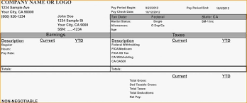 Free Pay Stub Template Excel Canada Adp Payroll Sample