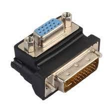 DVI-I 24 + 5 Erkek VGA 15 Pin Dişi 90 Derece Sağ Açı Bilgisayar Monitör  Için VGA RGB Video Adaptörü Dönüştürücü DVI Ekran  Www2.lucillesrockinradio.com