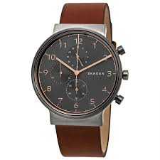 skagen skw6418 men s ancher chronograph leather grey dial