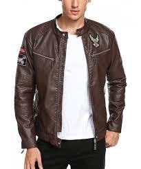 coofandy vintage leather biker jacket
