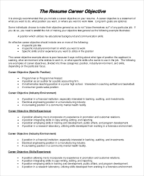 Sample Resume Objective 8 Examples In PDF DOC