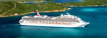 cruise ship carnival valor sailing among the islands