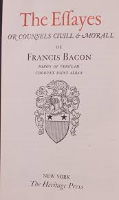 heritage press the essays of francis bacon the title page a rather dynamic title page rogers design flourish in full force christopher morley supplies an introduction which is not noted here