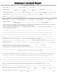 Employee Incident Report Forms Workplace Template Melo In Tandem Co