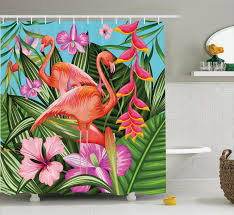 flamingo decor ilration of flamingo with tropical garden hibiscus flower plant vintage print bathroom accessories 69w x 84l inches extra long