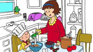 Small Picture Caillou Coloring Page 1 Caillou and his mom are baking cake