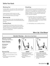 Bowflex Motivator Exercise Chart Define Your Goals Warm Up Cool Down Working Out