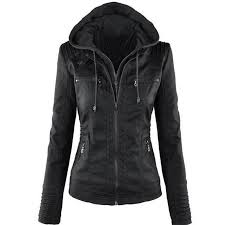 women jackets female faux leather jacket long sleeve hat removable basic coats waterproof windproof winter women s clothing womens winter jackets summer