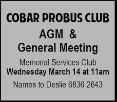 Cobar Probus Club Annual General Meeting And General Meeting