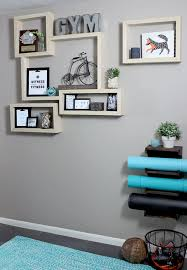 home gym furniture. DIY Plywood Shelves With Exposed Edge In Home Gym. Gym Furniture