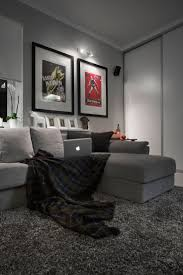 Compact Bachelor Haven in Moscow Defined by the Mix of Modern with Retro.  Rugs In Living RoomGrey ...