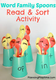 Activities Word Word Families Reading Activity With Spoons Planning Playtime