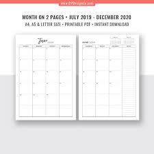 2019 2020 Monthly Planner 18 Month Calendar Monthly Organizer Month On 2 Pages Digital Printable Planner Filofax A5 A4 Letter Size