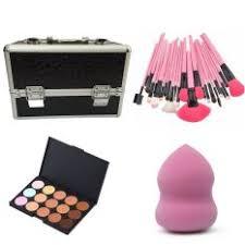 make up artist make up box black 24 pcs brush pink 15 concealer palette blender sponge