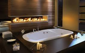 spa lighting for bathroom. View In Gallery Beautiful Modern Fireplace Lights Up This Bath Area Spa Lighting For Bathroom