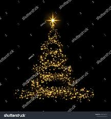 Gold Tree Lights Christmas Tree Card Background Gold Christmas Stock Image