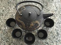 teavana imperial dragon cast iron tea set with teapot cups and warmer