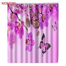 wonzom erfly modern flower polyester waterproof accessories plum shower curtains for bathroom fabric bath curtain with