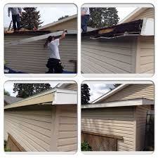 wood siding repair. Example Of Rotten Wood Fascia Being Replaced And Wrapped With New Aluminum Trim Siding Repair T