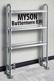 Example of Myson floor mounted Buttermere hydronic towel warmer