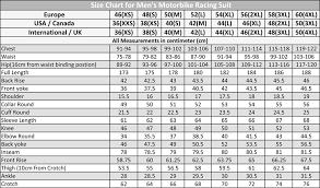 Measurements Mens Suits Chart Size Guide