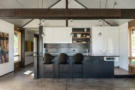 jackson corrugated metal backsplash kitchen industrial with high back bar stools contemporary decorative bowls exposed steel beams