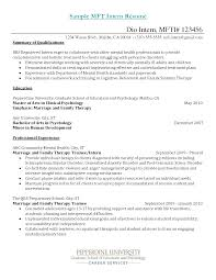Resume Sample For Mft Intern Examples Licensed Marriage And Family